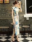 זול גופים סקסיים-מבוגרים בגדי ריקוד נשים מעוצב בסין סגנון סיני צרעה - מותניים Cheongsam עבור הצגה מסיבה אלגנטית מסיבת רווקות polyster ארוך Cheongsam
