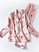 hesapli Pijamalar-Gömlek Yaka Saten ve İpek / Takımlar Pijamalar Geometrik Kadın's