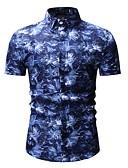 זול חולצות-גיאומטרי בסיסי כותנה, חולצה - בגדי ריקוד גברים דפוס פול / שרוולים קצרים