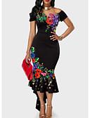 levne Print Dresses-Dámské Sexy Štíhlý Mořská panna Šaty - Květinový, Volány Výšivka Tisk Asymetrické Pod rameny