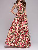 cheap Print Dresses-Women's Boho Elegant A Line Dress - Floral Ruffle Print Red Navy Blue L XL XXL