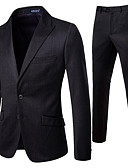 お買い得  メンズブレザー&スーツ-男性用 スーツ, ソリッド ノッチドラペル ポリエステル ブラック XXL / XXXL / XXXXL