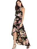 cheap Maxi Dresses-Women's Maxi Slim T Shirt Swing Dress Halter Neck White S M