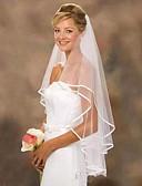 preiswerte Unterröcke für Hochzeitskleider-Zweischichtig Spitze Hochzeitsschleier Ellbogenlange Schleier mit Einfarbig 31,5 in (80cm) 100% Polyester
