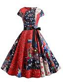 halpa Vintage-kuningatar-Naisten Katutyyli Swing Mekko - Geometrinen, Painettu Reisipituinen