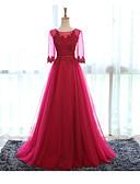 povoljno Maturalne haljine-A-kroj Ovalni izrez Do poda Til Formalna večer Haljina s Aplikacije po LAN TING Express