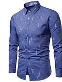 billiga Herrtröjor-Geometrisk EU / US-storlek Bomull Skjorta Herr Blå XL