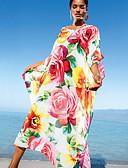 olcso Bikinik és fürdőruhák-Női Rubin Szoknya Strandruha Fürdőruha - Virágos Egy méret Rubin