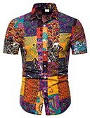 cheap Men's Shirts-Men's Plus Size Cotton Shirt - Floral / Geometric / Color Block Print Rainbow XXXL