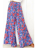 cheap Wide Leg-Women's Street chic Wide Leg Pants - Floral Blue
