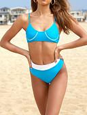 cheap Bikinis-Women's Basic Blue Orange Bandeau High Waist Tankini Swimwear - Solid Colored M L XL Blue