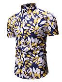 abordables Camisas de Hombre-Hombre Estampado Camisa, Cuello Inglés Árboles / Hojas Dorado XL / Manga Corta
