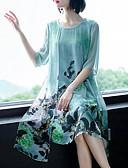 Χαμηλού Κόστους Φορέματα ειδικών περιστάσεων-Γυναικεία Μεγάλα Μεγέθη Βαμβάκι Σιφόν Φόρεμα - Φλοράλ, Στάμπα Ως το Γόνατο