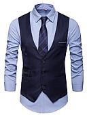 hesapli Erkek Blazerları ve Takım Elbiseleri-Erkek Vesta V Yaka Pamuklu / Polyester Koyu Mavi / Gri / Şarap XXXL / XXXXL / XXXXXL