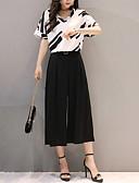 hesapli İki Parça Kadın Takımları-Kadın's Actif / sofistike Lale Kol Set - Büzgülü, Geometrik Pantolon