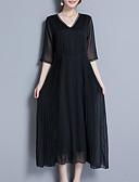 abordables Vestidos Estampados-Mujer Sofisticado Elegante Recto Gasa Vestido - Encaje Plisado, Un Color Midi
