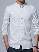 olcso Férfi pólók-Álló gallér Vékony Férfi Pamut Ing - Egyszínű, Kollázs Fekete XXL