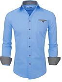 povoljno Košulje-Veličina EU / SAD Majica Muškarci Jednobojni Slim, Print Navy Plava