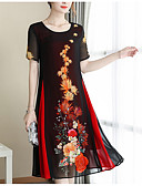 abordables Vestidos Estampados-Mujer Elegante Corte Swing Vestido Floral Hasta la Rodilla