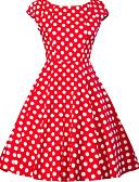 hesapli Vintage Kraliçesi-Kadın's Büyük Bedenler Dışarı Çıkma 1950'ler A Şekilli Elbise - Yuvarlak Noktalı, Desen V Yaka Diz-boyu