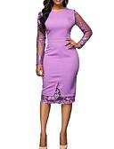 cheap Romantic Lace Dresses-Fashion Lace Dress Women's Elegant - Solid Colored Lace Purple M L XL Dresses