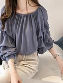 お買い得  レディースセーター-女性用 プラスサイズ ブラウス オフショルダー カラーブロック ブルー XXL