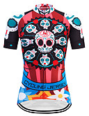 cheap Girls' Sweet Dresses-TELEYI Women's Short Sleeve Cycling Jersey Red Skull Plus Size Bike Jersey Top Breathable Quick Dry Sports Terylene Mountain Bike MTB Road Bike Cycling Clothing Apparel / Micro-elastic