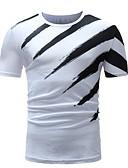 זול טישרטים לגופיות לגברים-פסים צווארון עגול טישרט - בגדי ריקוד גברים לבן XL