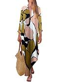 abordables Robes à Motifs-Femme Asymétrique Balançoire Robe - Imprimé, Géométrique Vert M L XL Manches Longues