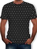 billige T-shirts og undertrøjer til herrer-Herre - Geometrisk / 3D / Grafisk Trykt mønster T-shirt Sort XL