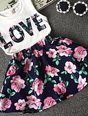 baratos Roupas de Banho para Meninas-Infantil Para Meninas Floral Estampado Vestido Branco