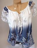 hesapli Bluz-Kadın's Pamuklu Düşük Omuz Tişört Çiçekli Fuşya