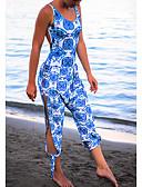 preiswerte Bikinis-Damen Grundlegend / Street Schick U-Ausschnitt Blau Stifte Schlank Overall, Geometrisch Rückenfrei / mit Schnürung / Druck M L XL