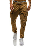 cheap Men's Jackets & Coats-Men's Drawstring Jogger Pants Sports Solid Color Cotton Pants / Trousers Bottoms Gym Workout Activewear Lightweight Quick Dry High Elasticity Skinny