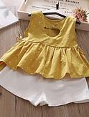 levne Sady oblečení na miminka-Děti Dívčí Šik ven Puntíky Bez rukávů Standardní Standardní Polyester Sady oblečení Žlutá