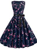 お買い得  ヴィンテージドレス-女性用 ヴィンテージ スウィング ドレス - リボン プリント, フラワー ミディ