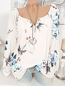 cheap Women's Shirts-Women's Plus Size T-shirt - Floral Print V Neck Blushing Pink XXXL