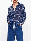 voordelige Damesblouses-Dames Print Blouse Bloemen / 3D Overhemdkraag Ruimvallend blauw S