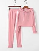 hesapli İki Parça Kadın Takımları-Kadın's Kapşonlu Sportif Set Çizgili Pantolon