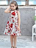 お買い得  女児 ドレス-子供 女の子 ベーシック フラワー プリント ノースリーブ 膝丈 ポリエステル ドレス ホワイト