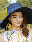 billiga Huvudbonader för damer-Dam Aktiv söt stil Stråhatt-Sugrör Enfärgad Sommar Höst Fuchsia Khaki grön Marinblå