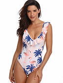 cheap One-piece swimsuits-Women's Basic White Cheeky One-piece Swimwear - Geometric Print M L XL White