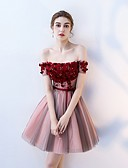 cheap Cocktail Dresses-A-Line Off Shoulder Short / Mini Tulle Dress with Beading / Sequin / Appliques by LAN TING Express