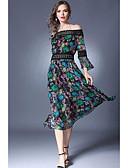 preiswerte Maxikleider-A-Linie Schulterfrei Tee-Länge Chiffon Kleid mit Spitzeneinsatz durch LAN TING Express