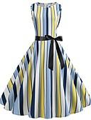 preiswerte Retro-Königin-Damen Retro Swing Kleid - Druck, Gestreift Einfarbig Midi