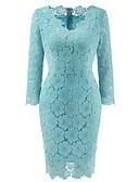 저렴한 로맨틱 레이스-여성용 플러스 사이즈 데이트 섹시 시프트 드레스 - 솔리드, 레이스 무릎길이 V 넥
