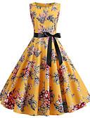 halpa Vintage-kuningatar-Naisten Vintage Swing Mekko - Kukka, Rusetti Painettu Midi