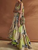 זול שמלות מודפסות-כתפיה מקסי קפלים שמלה סווינג בגדי ריקוד נשים