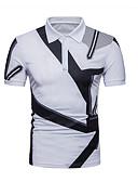cheap Men's Shirts-Men's Polo - Color Block Shirt Collar White L