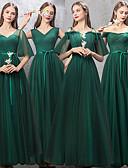 abordables Robes de Demoiselles d'Honneur-Trapèze Col en V Longueur Sol Tulle Robe de Demoiselle d'Honneur  avec Ceinture / Ruban par LAN TING Express